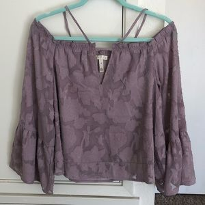Nordstrom Leith Purple Strapless long sleeve top
